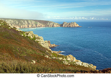 Cornwall coast cove in autumn at Porthchapel near the Minack...