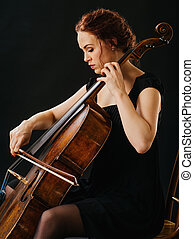 Cellist and her old cello - Photo of a beautiful woman...