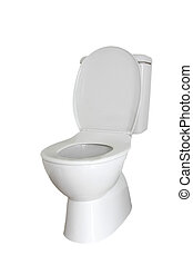 Toilet - Closeup of toilet isolated on plain background