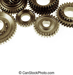 Gears - Steel cog gears on plain background Copy space