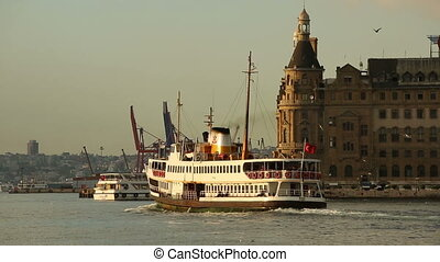 urban transport by sea in front Haydarpasha port at Istanbul