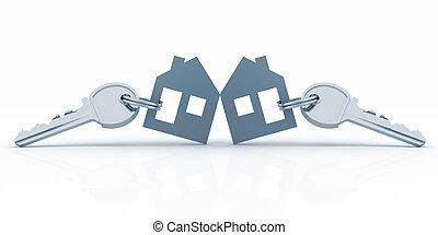 model house symbol set with keys - 3d model house symbol set...