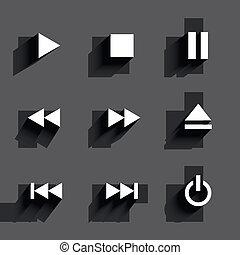 Multimedia icons. Flat design