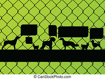 Imprisoned dogs behind wire mesh fence with speech bubbles...