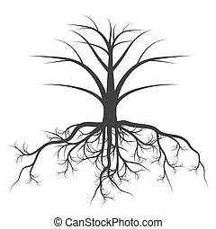 Tree with roots background vector concept for poster