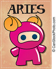Zodiac sign Aries ninja - Zodiac sign Aries with cute black...