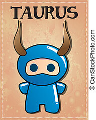 Zodiac sign Taurus ninja - Zodiac sign Taurus with cute...