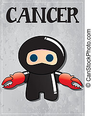 Zodiac sign Cancer ninja - Zodiac sign Cancer with cute...