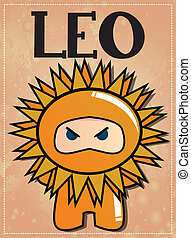 Zodiac sign Leo ninja - Zodiac sign Leo with cute black...