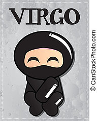 Zodiac sign Virgo with cute ninja character, vector