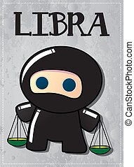 Zodiac sign Libra ninja - Zodiac sign Libra with cute black...