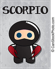 Zodiac sign Scorpio ninja - Zodiac sign Scorpio with cute...