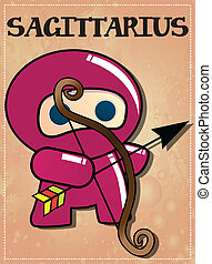 Zodiac sign Sagittarius ninja - Zodiac sign Sagittarius with...