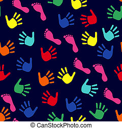 Seamless pattern with hands and feet imprints
