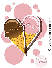 Ice cream happy birthday card with bubbles, vector