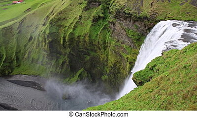 Skogafoss waterfall - Top of skogafoss waterfall and rainbow...