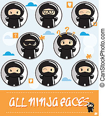 Collection of cute cartoon ninjas with different face...