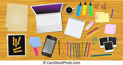 Work desk with office stationery, vector