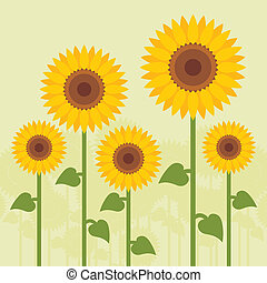 Yellow sunflowers vector background for poster