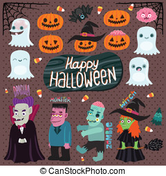 Halloween set - witch, dracula, monster, zombie - Happy...