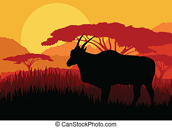 Gazelle in wild Africa mountain landscape background illustration