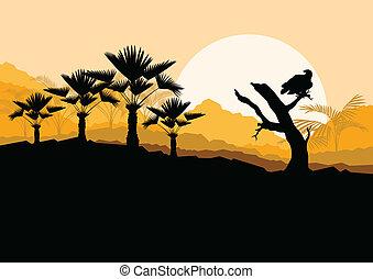 Desert wild nature landscape with cactus, palm tree plants...