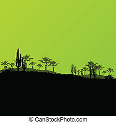 Desert wild nature ecology landscapes with cactus and palm...