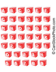 Alphabet in red cube - Set letter of alphabet in red cube