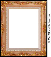 gold frame - a picture gold frame on a black