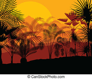 Tropical palm tree background vector