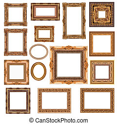 frame - Different gold frames on a white background