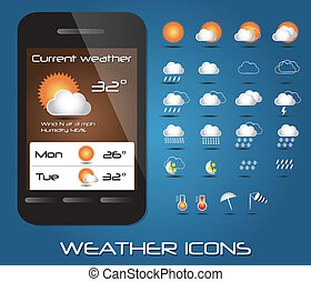 Collection of mobile weather icons
