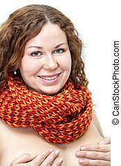 Naked woman with scarf on the neck