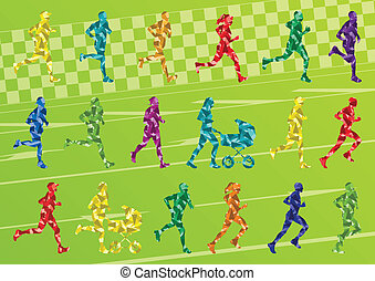 Marathon runners colorful silhouettes background vector