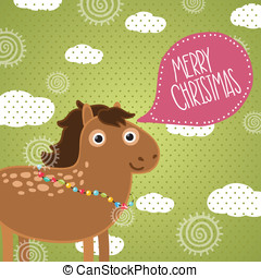 Christmas horse. Holiday illustration