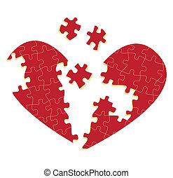 Jigsaw puzzle heart vector illustration background