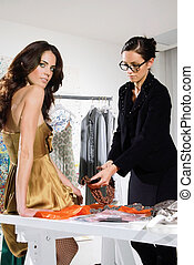 women in haute couture sui - woman in fashion atelier haute...