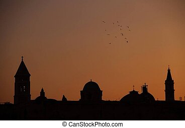 sunset, silhouette, mosque