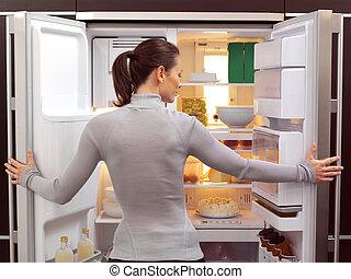 mujer, Mirar, Algo, comer