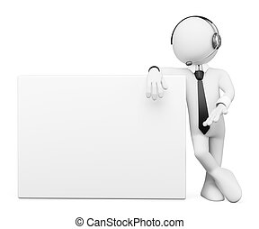 3D white people Operator with a blank poster - 3d white...