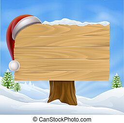 Snow Landscape Christmas Santa Hat - A Christmas wooden sign...