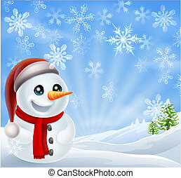 Christmas Snowman in Winter Scene - A cartoon snowman...
