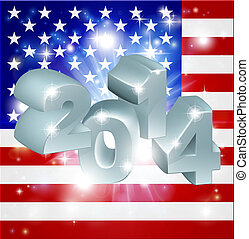 2014 American Flag - American flag 2014 background. New Year...