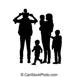 big family of four children and two parents silhouettes -...