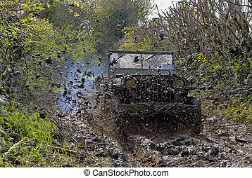 world war two military vehicle run in mud - world war two...