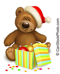 Christmas bear - Bear in the header of Santa Claus with box...