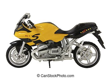 yellow toy sportbike isolated on white