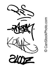 isolated tags and graffiti set 2
