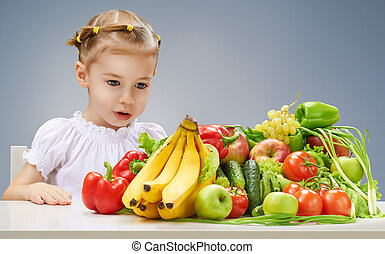 美しい, 新たに, 女の子, フルーツ, 食べること