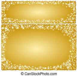 Frame christmas card on a golden background with stars